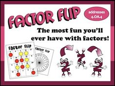 """FREE MATH LESSON - """"Factor Flip Prime & Composite Game"""" - Go to The Best of Teacher Entrepreneurs for this and hundreds of free lessons. http://thebestofteacherentrepreneurs.blogspot.com/2013/03/free-math-lesson-factor-flip-prime.html"""
