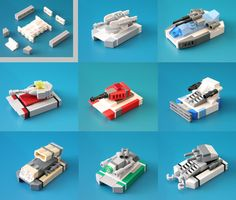 A compilation of tanks using the chassis configuration I came up. The 3 tanks on the bottom row are new ones while the rest are past ones. Apologies on the lack of uploads; I've reached a mini dark age after building these tanks :< Plus I've been working on other projects, specifically with 3D modeling.