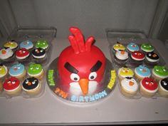 Angry Bird cake/cupcakes by Ambie Cakes