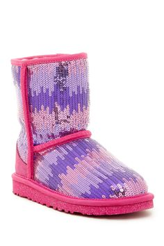 Adorable Uggs! Had to grab these for the girls! Classic Short Sparkle Wave Genuine Sheepskin Lined Boot (Little Kid & Big Kid) by UGG Australia on @nordstrom_rack