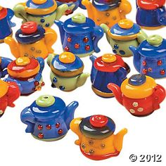 Bright Teapot Lampwork Beads. Tea time is any time! Brew up some colorful necklaces, bracelets or earrings with this bright teapot lampwork glass bead mix. Assorted styles. (12 pcs. per unit) 10mm x 15mm. Each lampwork bead is handmade and will vary slightly.  4.49/12