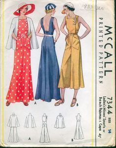 (Sort of a bathing costume...) 1933 McCall Pattern Beautiful Beach Pajamas and Sports Cape | eBay