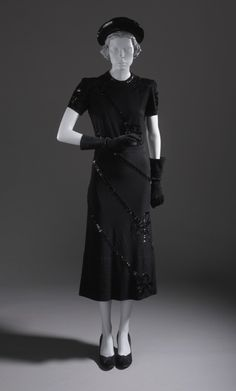 ~Woman's Cocktail Dress with Matching Belt and Hat Paquin (house of) (France, Paris, 1891-1956) France, 1939 Costumes; ensembles Wool jersey ...~