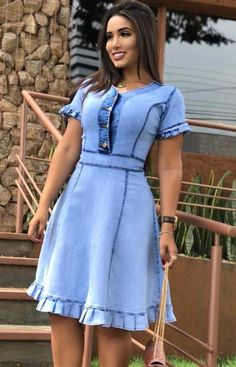 Short African Dresses, African Fashion Dresses, Short Sleeve Dresses, Dress Outfits, Casual Dresses, Cool Outfits, Casual Outfits, Blue Denim Dress, Womens Denim Dress