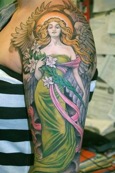 Angel on the Arm / I usuaaly do not like sleeve tattos but i think this oneis delicate