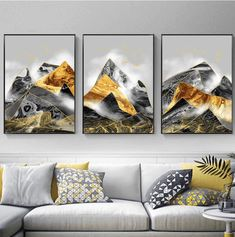 Hd Print Black And Gold Link Posters Abstract Geometric Mountain Canvas Painting Bedroom Decoration Wall Art Picture No Framed Art Abstrait, Wall Art Pictures, Abstract Wall Art, Abstract Landscape, Painting Prints, Art Decor, Decor Ideas, Canvas Wall Art, Canvas Prints