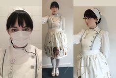 "Get this look: http://lb.nu/look/8120996  More looks by Louie Gray: http://lb.nu/gravelvet  Items in this look:  Metamorphose Side Button Blouse, Violet Fane ""Asylum"" Skirt, Zettai Ryouiki Bloody Bandage Stockings   #lolita #gothiclolita #nurselolita #gurololita #gurokawa #creepycute #medical #nurse #medicalfashion"