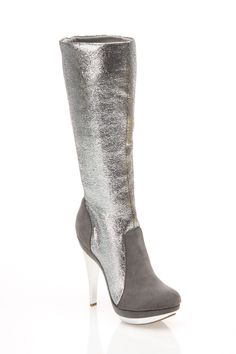 Shoe Republic Boost Heel Boots In Silver - Beyond the Rack