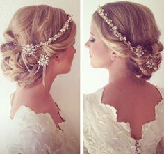 """{@Olivia García García Nelson Bridal Accessories styles featured: """"Rosalind"""" crystal and pearl halo and """"Mae"""" crystal pins with crystal chain}"""