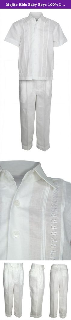 Mojito Kids Baby Boys 100% Linen Embroidery Design Shirt and Pant Set White 2T. Have your child looking his best with this elegant white 100% linen shirt & pant set. Shirt has front pleated trim with a center embroidered pattern. The pants have a satin lining for the most comfortable feel and side elastic bands for the perfect contour.