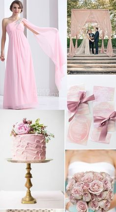 New Design Sheath-Column One Shoulder Floor Length Chiffon Baby Pink Bridesmaid Dress ,It Will Meet Your Weeding Theme !COZF1304E #bridesmaiddresses #cocomelody