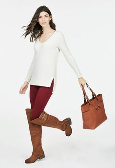Go Merlot Outfit Bundle in - Get great deals at JustFab Brown Boots Outfit, Tall Brown Boots, Leather Riding Boots, Red Pants, Over The Knee Boots, Plus Size Fashion, Fall Outfits, Brown Leather, Black Jeans