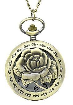 Souarts Antik Nostalgie Design Taschenuhr mit Gravur Batterie Bronze Rosa Motiv