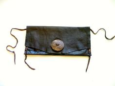 #brown #leather #clutch #elk #boho #coconut #button #handsewn #handmade #ulantia Brown leather purse elk leather leather pouch brown by ulantia, $65.00