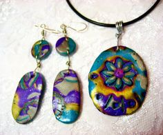 Mokume Gane Polymer Clay Necklace and Earrings by me, Donna DeCicco, $24.99
