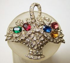 Vintage Crystal Rhinestone Flower Basket Pin by GretelsTreasures