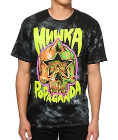 Update your t-shirt style with a unique tie dye design that showcases a collaborative MNWKA and Popaganda star skull logo graphic at the chest.