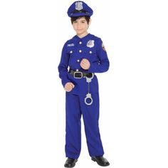 Police Officer Child Halloween Costume, Toddler Boy's, Size: Small, Black