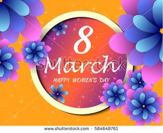 Blue Paper Cut Flower. 8 March. Women's Day Greeting card. Origami Floral bouquet. Circle frame. Space for text on orange background. Happy Mother's Day. Vector Spring illustration