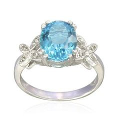 Sterling Silver Oval-Shaped Blue Topaz Ring - $39