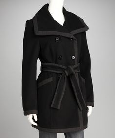 Black & Charcoal Wool-Blend Peacoat | Daily deals for moms, babies and kids