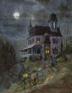 Nine Spooks, Halloween haunted house painting Retro Halloween, Casa Halloween, Halloween Prints, Halloween Haunted Houses, Halloween Pictures, Holidays Halloween, Halloween Decorations, Happy Halloween, Halloween Stuff