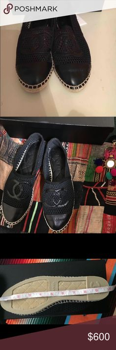NEW/1ST EDITION CHANEL BLACK MESH ESPADRILLES 39/7 Just purchased from another resale site and have already gone thru their authentication process and they are a final sale site. I'm selling because they are too small.  I want to cry because these are hard to find & I wanted for summer :( Size 39 but I guess the mesh run small like a 7/7.5 I wear an 8.  These come with an unlabeled box & dustbag.  Know that these are the older single sole version.  Please don't ask if they are authentic as I…