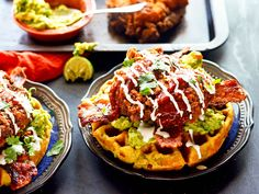 Mexican Chicken and Waffles: A Mashup of Chicken, Waffles, Nachos, Tamales—Plus Bacon (recipe in comments) : food Pollo Y Waffles, Fried Chicken And Waffles, Chicken Bacon, Chicken Casserole, How To Make Nachos, Food To Make, Tamales, Sandwiches, Mexican Chicken Tacos