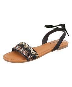 Look at this #zulilyfind! Black Beaded Ankle-Strap Folk Sandal by TOP MODA #zulilyfinds