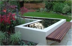 Modern garden pond with decked bench seat - cantilevered benches would have been. Modern garden pond with decked bench seat - cantilevered benches would have been the next level of conceptualisation, bu. Outdoor Water Features, Water Features In The Garden, Garden Pond Design, Landscape Design, Modern Pond, Modern Bench, Raised Pond, Raised Beds, Goldfish Pond
