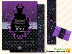 Now in purple and silver!  Elegant Maleficent Printable Birthday by Viva Print & Celebrate!