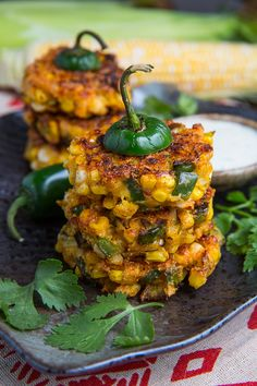 Jalapeno Popper Corn Fritters - Crispy golden brown sweet corn fritters with all of the flavors of jalapeno peppers including jalapenos, cream cheese, cheddar and bacon. Serve with jalapeno popper dressing. Think Food, I Love Food, Good Food, Yummy Food, Tasty, Mexican Food Recipes, Vegetarian Recipes, Cooking Recipes, Healthy Recipes