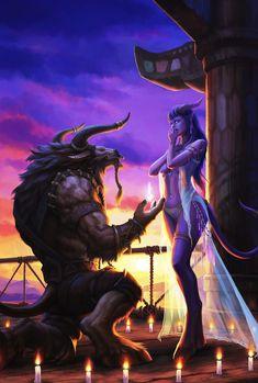 Warcraft FanArt - Love across Sides, Earl Lan on ArtStation at https://www.artstation.com/artwork/XoXdy