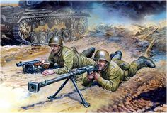 Soviet antitank rifles with an anti-tank rifle 14.5mm PTRD
