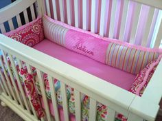 Garden Party Pink crib bedding with pink ruffles custom made by Posh Petites Boutique. https://www.facebook.com/poshpetitesboutique lmb0828@hotmail.com
