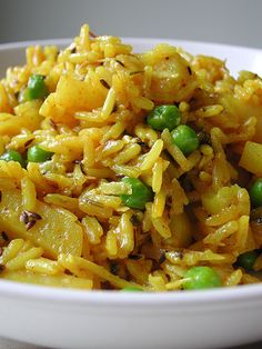 Indian rice with potatoes and peas