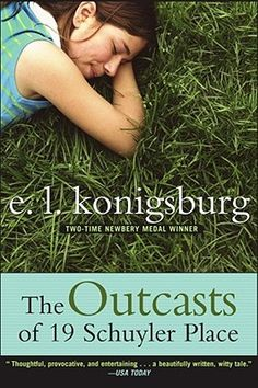The Outcasts of 19 Schuyler Place by E.L.Konigsburg.  Margaret Rose is delighted when her beloved uncles rescue her from camp and bring her to stay with them at their house at 19 Schuyler Place. But she soon discovers that something is wrong. The neighborhood wants to get rid of the art pieces the uncles have spent 45 years lovingly constructing. Margaret Rose is outraged and no one is more surprised than she at the allies she finds.