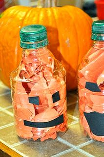 Water Bottle Pumpkin Jack-O-Lantern (great for toddlers, too)!