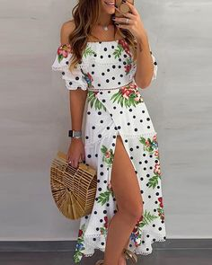2020 Women Fashion floral one piece dress casual long sleeve floral maxi dress Elegant Dresses, Sexy Dresses, Cute Dresses, Casual Dresses, Fashion Dresses, Dresses For Work, Summer Dresses, Formal Dresses, Wedding Dresses