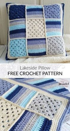 These free crochet pillows have a great range of styles, designs, color textures and also unique stitches. Crochet Cushion Cover, Crochet Cushions, Crochet Quilt, Crochet Blocks, Tunisian Crochet, Crochet Squares, Crochet Baby, Free Crochet, Cushion Covers