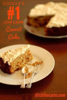 This is Google's no.1 Low Carb Carrot Cake. No added sugars, gluten free, grain free and wheat free. Simple recipe to follow and the most amazing cream cheese frosting to top it all off. #lowcarb #sugarfree | ditchthecarbs.com via @ditchthecarbs