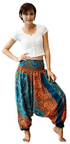 Firstharem Floral Women Yoga Jumpsuit Harem Pants Green Turquoise *** You can find out more details at the link of the image.
