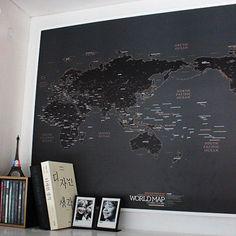 Black World Map Unique Poster