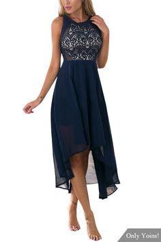 Sexy Round Neck Sleeveless Blue Lace Dress