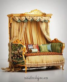 Miniature Dollhouse Furniture by June Clinkscales | Settees