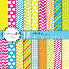 This versatile bright papers pack features chevron, stripes, polka dots and gingham in an array of colors and sizes, perfect for scrapbooking, product design, cards, and much more