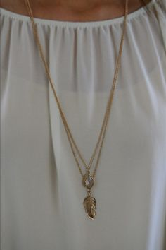 Feather Stone Necklace – The ZigZag Stripe