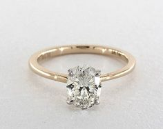 0.91 Carat Oval K SI2 Cut Solitaire Engagement Ring in 14K Yellow Gold is available online and shown in stunning 360° HD. - 1846674