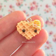 #kawaii #charms #polymer #clay #orange #heart #waffle