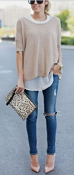 Love this combo! Blouse, sweater, skinnies, heals | Skinny Jeans | 23 Clothing Items Every Girl Should Own